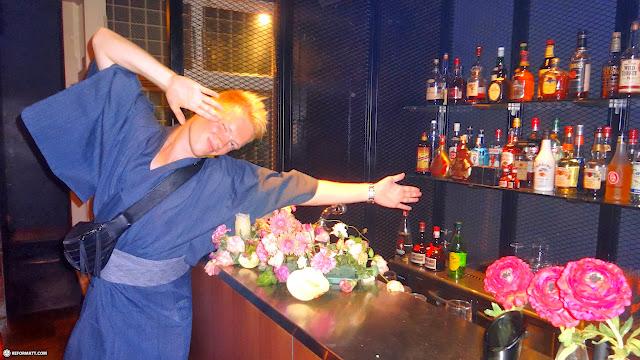 busting a pose at the annual VIP Yukata party: Tokyo Fashionista in Aoyama, Tokyo, Japan