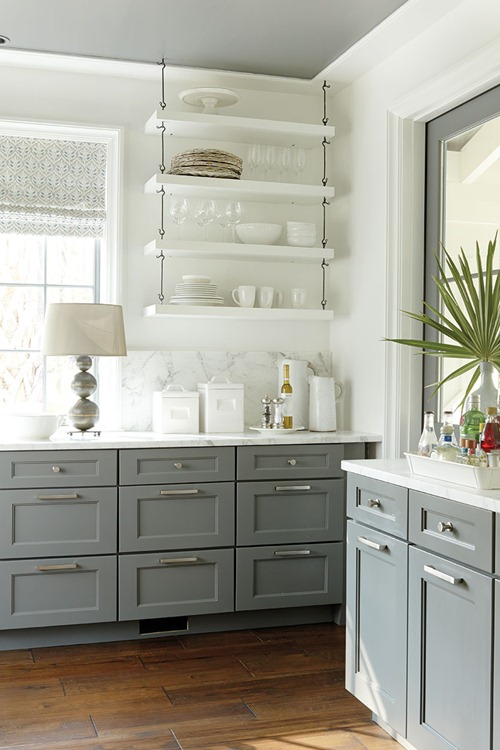 white open shelves kitchen