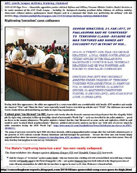 GUN CACHE RIGHT WING TERRORISM CLAIMS BY ANC CASE COLLAPSES AFRIKANERS TORTURED