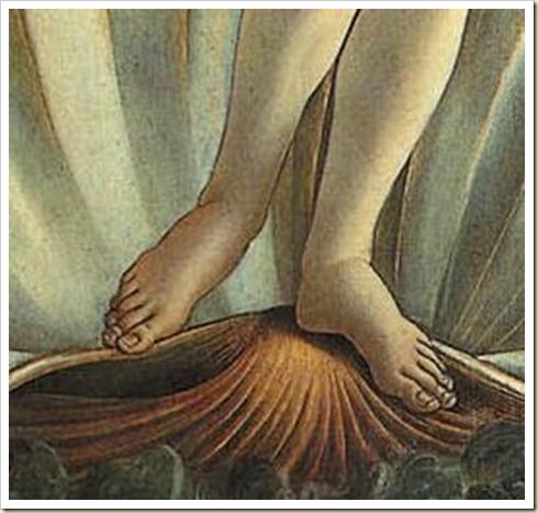 Botticelli - El nacimiento de Venus (pies)