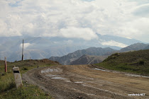 The road from Kochkor to Song Kul lake through the Kyrgyz mountains
