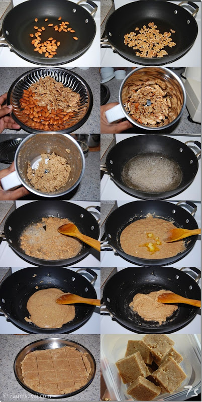 Walnut burfi process