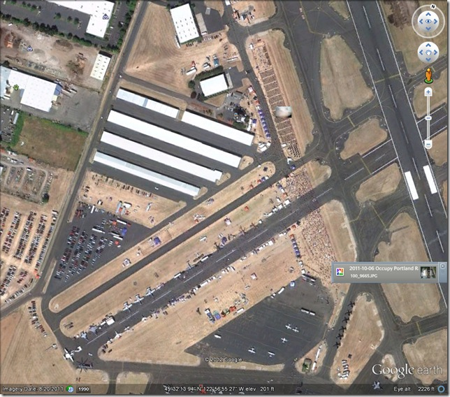 Google Earth.  Oregon Air Show, August 20, 2011.