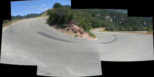 Panorama looking inland (and toward the switchback) from the lower, really steep switchback on Old San Marcos