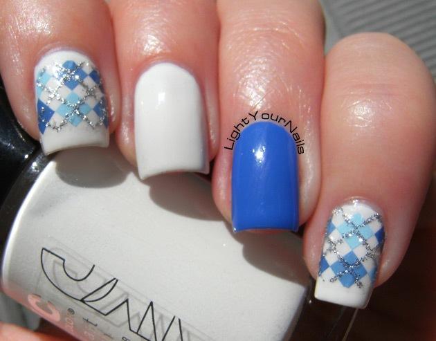 BPS blue and glitter plaid pattern + white skittlette