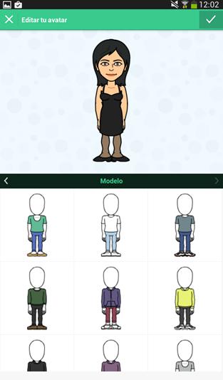 Elige o crea tu avatar en Bitmoji
