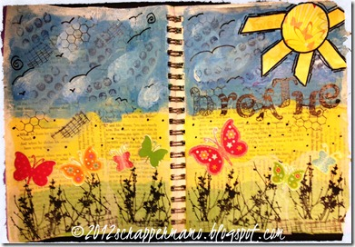 breathe art journal page w border