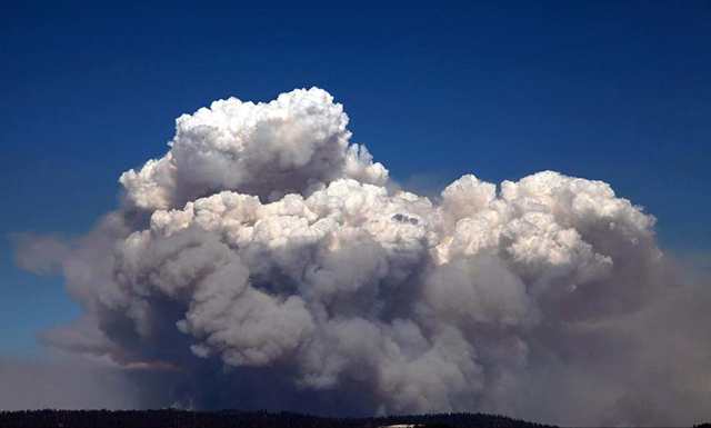 A huge smoke cloud rises into the air in Tuolumne County on Tuesday, 20 August 2013, as the Rim fire continues to rage. This image was shot coming down from the Glacier View. Photo: Barbara Davidson / Los Angeles Times