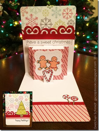 Happy Holidays! card using Pop `n Cuts Multi-Tier Insert by @gscrapbooks