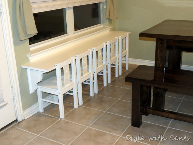 table for five using laminate shelf shelving and ikea chairs