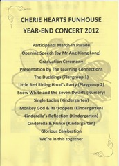 Pogramme end year concert 2012