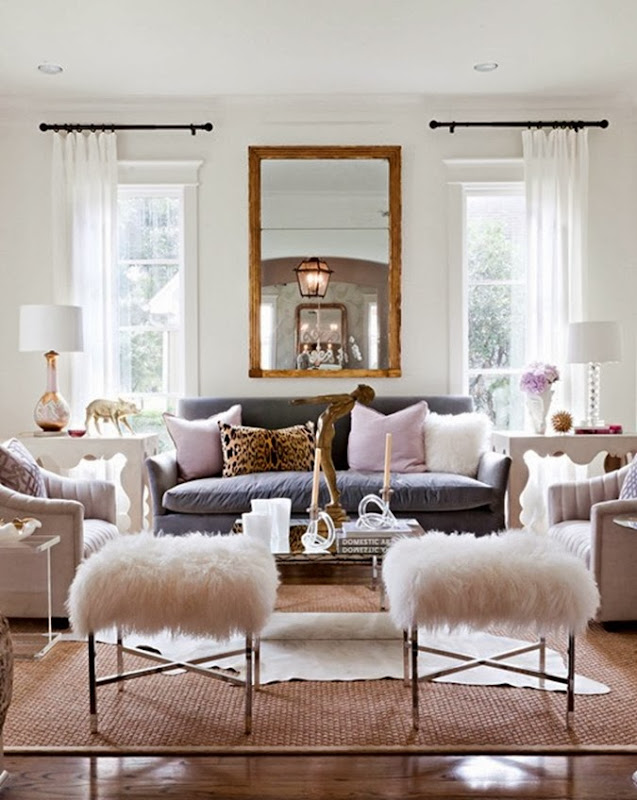 Sally_Wheat_living_room_gray_velvet_sofa_mongolian_fur_x_bench