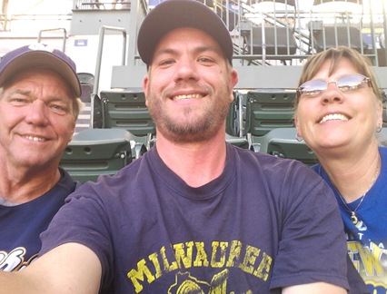 Kevin, Eric and Ev at Brewer Game