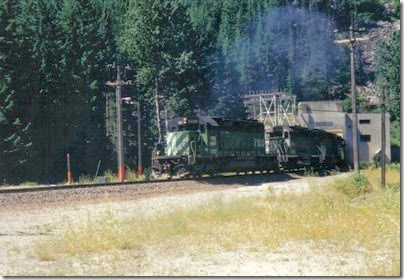 Burlington Northern SD40-2 #7130 emerging from the Cascade Tunnel at Berne, Washington in 2000
