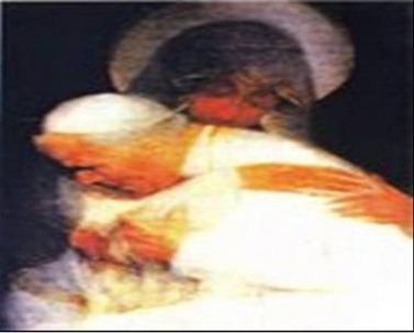 papa sendo abraçado pela virgem Maria