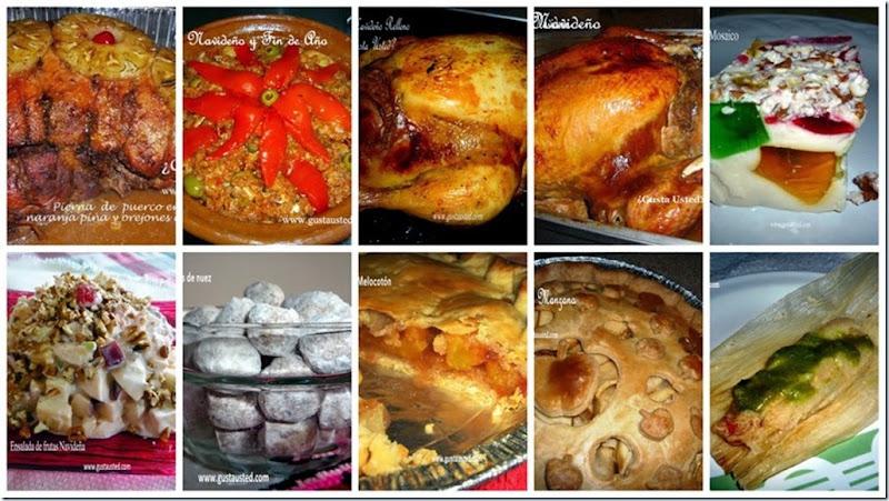 Collage de platos tradicionales navideños y de fin de año