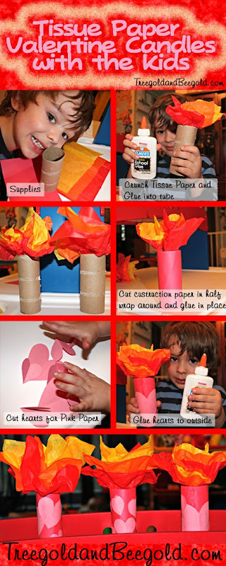 Treegold and Beegold: Tissue Paper Valentine's Day Candles Kids Activity