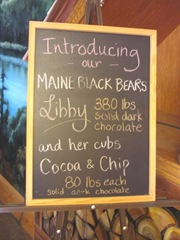 11.2011 Maine Scarbourgh bear chocolate sign