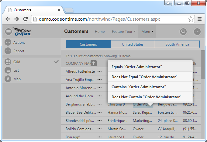 Right-click on the data values will display a context menu.