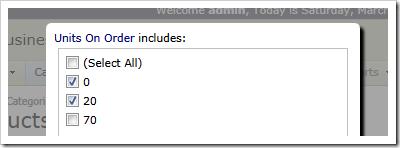 User-defined 'units on order' filter