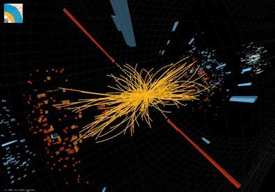 colisão de partículas no detector CMS