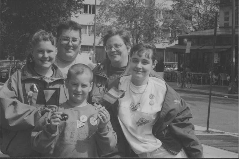 Lesbian parents and their children at the March on Washington. 1993.