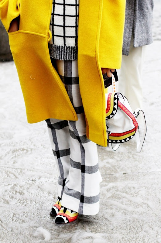 New_York_Fashion_Week-Street_Style-Yellow_Coat-Black_And_White-
