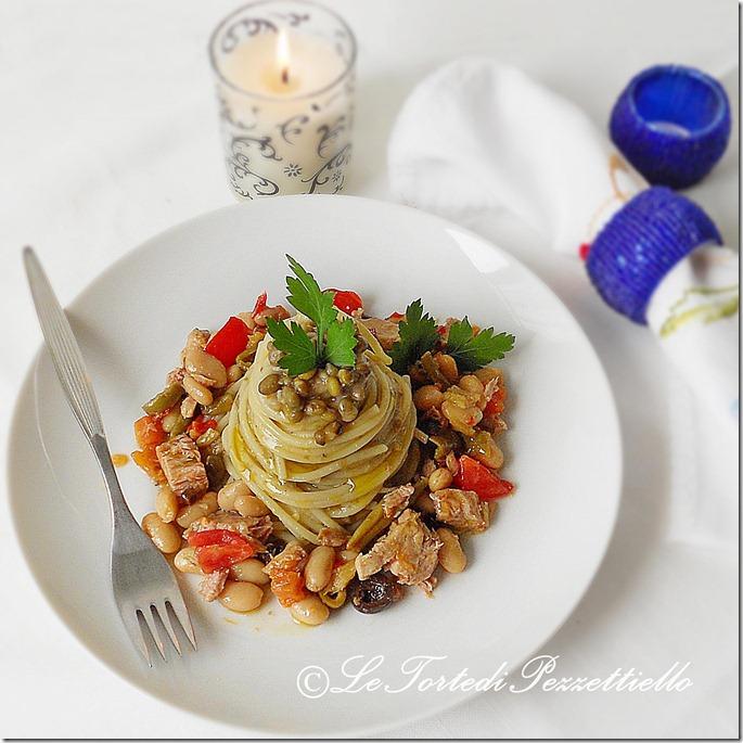spaghetti alla mediterranea e azuki