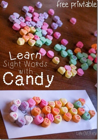 Valentines Day Sight Word Activity - what a fun tactile way for kids in Preschool, Kindergarten, 1st grade, and 2nd grade to practice sight words using conversation heart candy. Includes FREE Printables!!