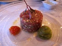 Tuna tartar, tomato seeds, creamed avocado, salmon caviar