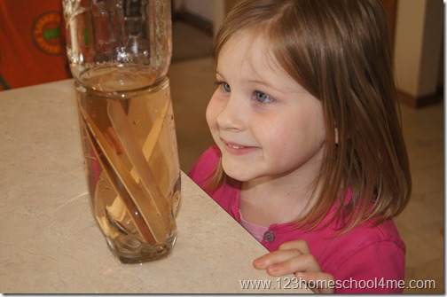 Science Experiment for Kids - Soaking Craft Sticks to make pliable