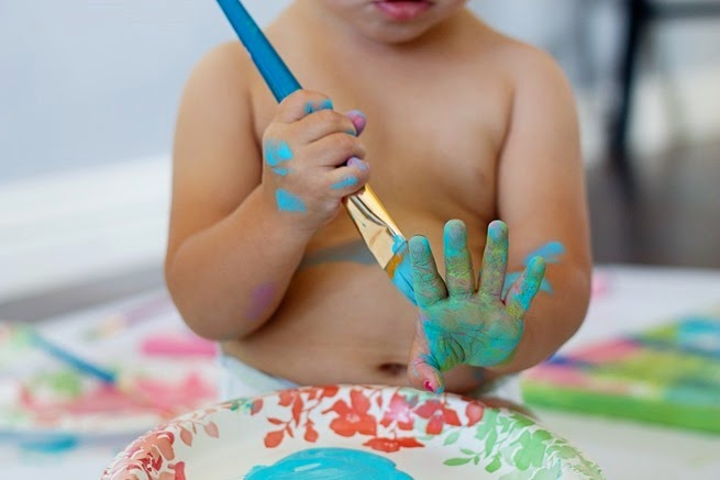 painting with toddler