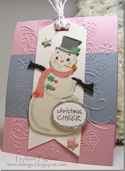 LeAnne Pugliese WeeInklings BoBunny Snowman Tag Christmas Card 2
