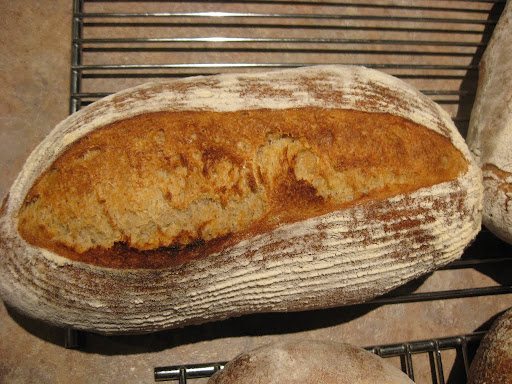 Norwich Sourdough loaf -- proofed in a ribbed-placemat-lined-basket