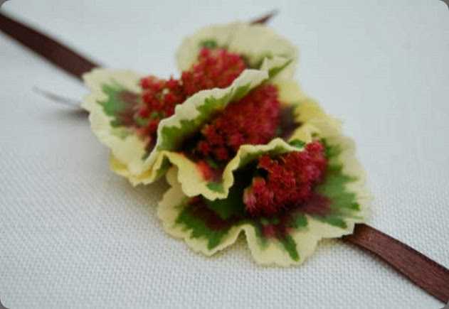 WRIST CORSAGE MFGGeraniumRibbon the monkey flower group.JPG1