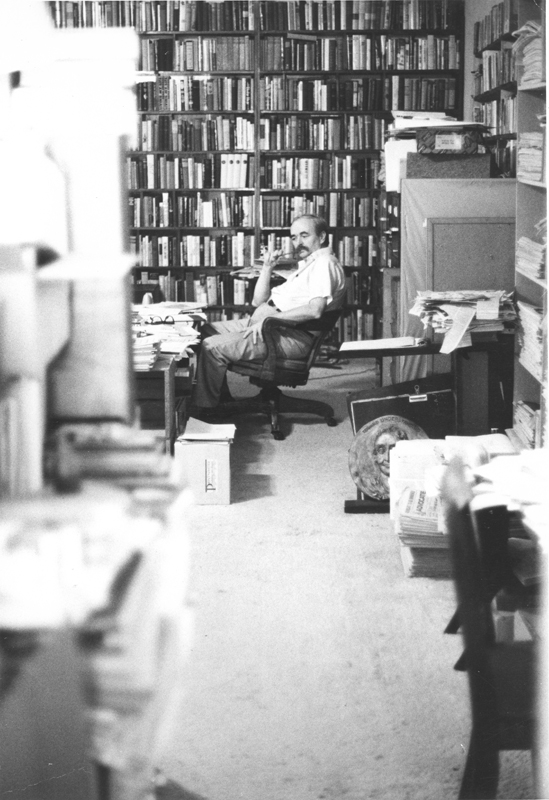 Jim Kepner in his Lexiginton Avenue apartment during the era of his Western Gay Archives. Undated.