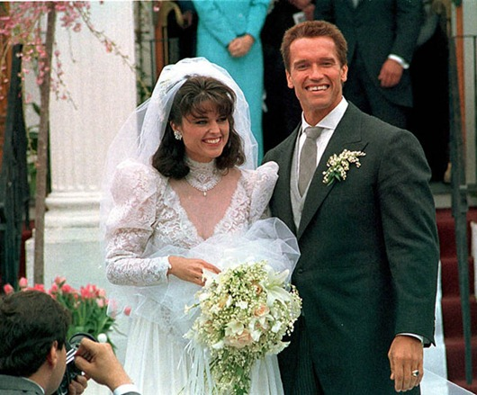 SCHWARZENEGGER SHRIVER...FILE -- In an April 25, 1986 file photo Actor Arnold Schwarzenegger poses with his bride Maria Shriver following their wedding ceremony in Hyannis, Mass. Former California Gov. Arnold Schwarzenegger and his wife of 25 years, Maria Shriver, announced Monday May 9, 2011, that they are separating.   (AP Photo/file)
