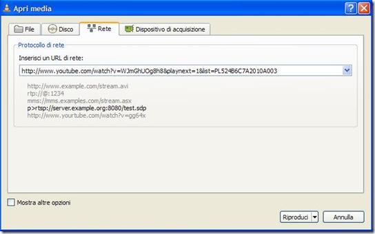 VLC Inserisci un URL di rete