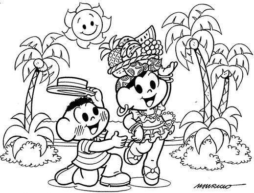 desenho para colorir - carnaval turma da mônica