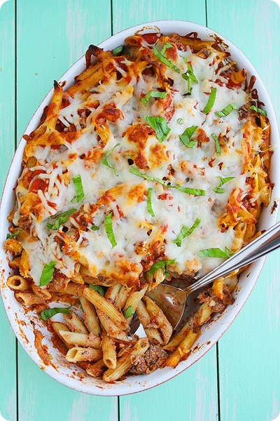 Baked Penne with Italian Sausage – Scrumptious, cheesy baked pasta that's full of flavor and super hearty! | thecomfortofcooking.com