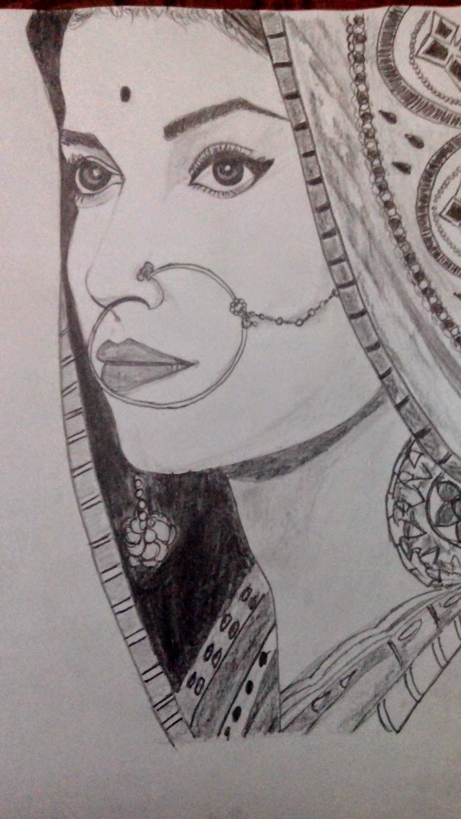 Pencil sketch of indian girl