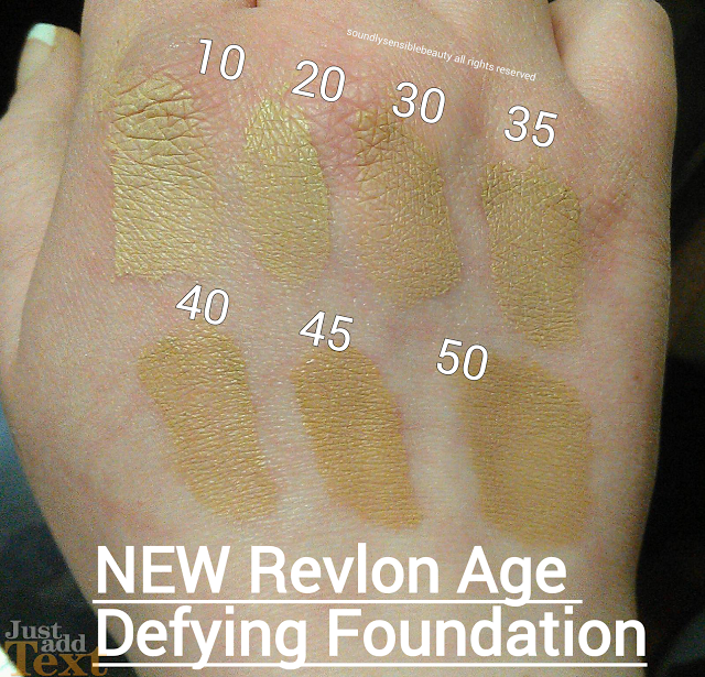 Revlon Age Defying Firming & Lifting Foundation SPF 15 Swatches of Shades; 10 Fresh Ivory, 20 Bare Buff, 30 Tender Beige, 35 Soft Beige, 40 Natural Beige, 45 Medium Beige, 50 Warm Beige