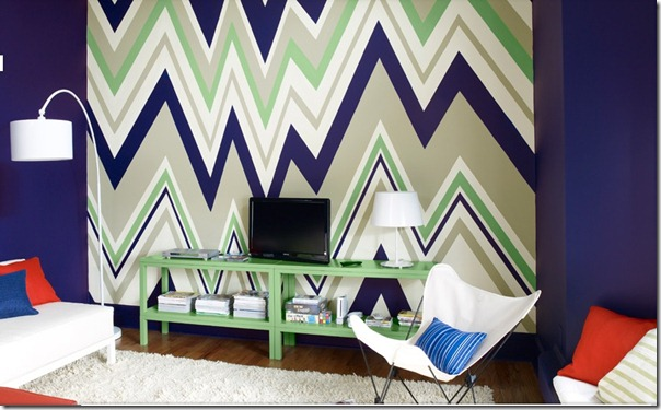 Benjamin Moore zig zag painted wall im busy procrastinating