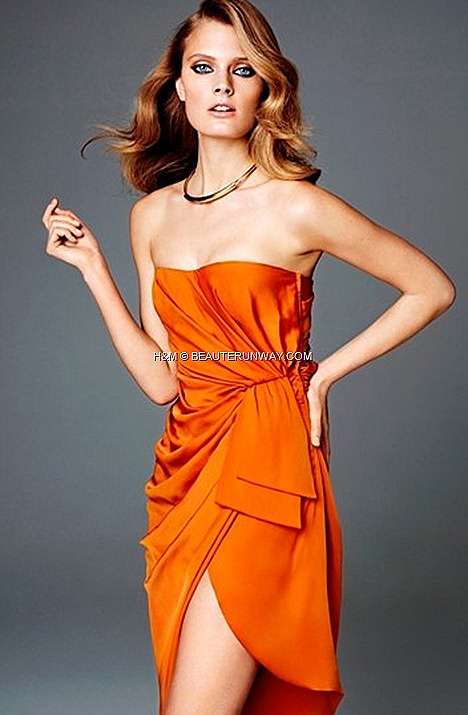 H&M SPRING 2012 CONSCIOUS COLLECTION EXCLUSIVE RED CARPET FASHION GLAMOUR Bustier wrap recycled polyester dress burnt tangerine