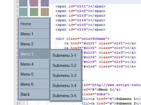 Menú vertical multicolor 3D en CSS3