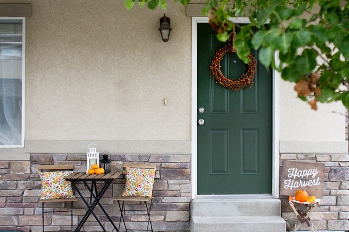 festive front porch for fall, halloween outside decorations