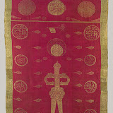 Banner, dated 1225 a.h.; 1810 Turkey Silk, metal-wrapped yarn