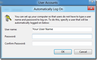 Make Windows 8 PC Automatically Logon to Your Use Account 4