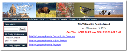 Wyoming Department of Environmental Quality Title V Operating Permits Issued