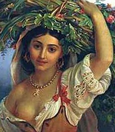 Italiana con fiori (part.,P.Orlov 1812-1865)